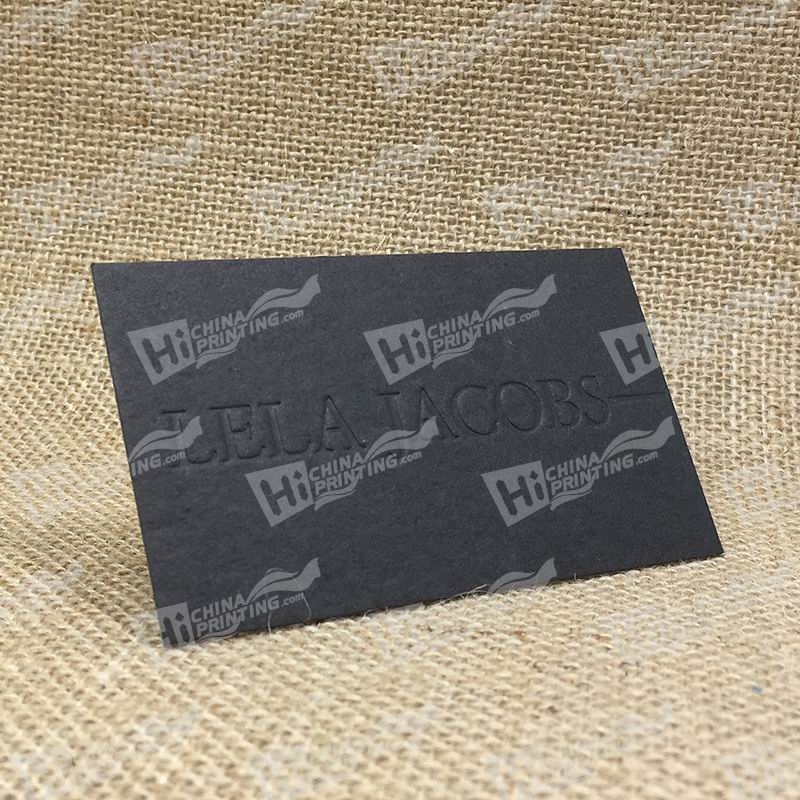 600g Black Paper With Blind Debossing Logo Cards Printing